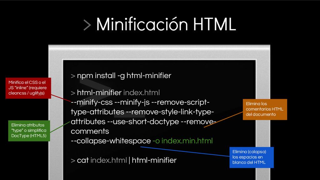 > npm install -g html-minifier > html-minifier ...
