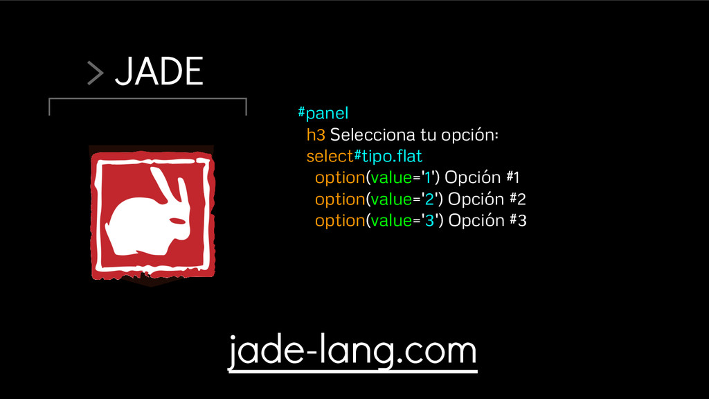 > JADE #panel h3 Selecciona tu opción: select#t...