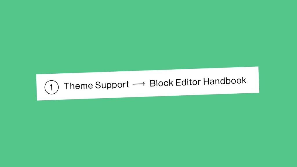 Theme Support Block Editor Handbook ⟶ 1