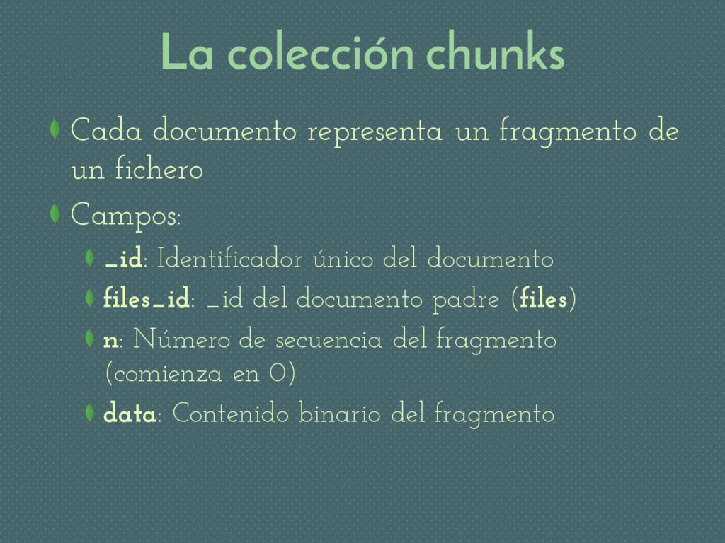 La colección chunks Cada documento representa u...