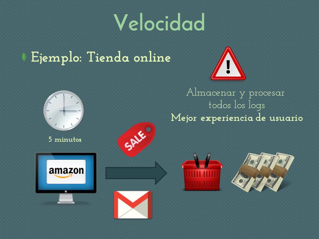 Velocidad Ejemplo: Tienda online 5 minutos Alma...