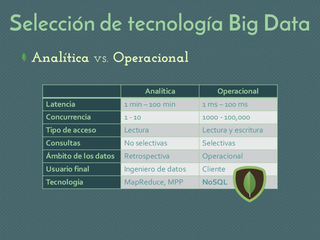Selección de tecnología Big Data Analítica vs. ...