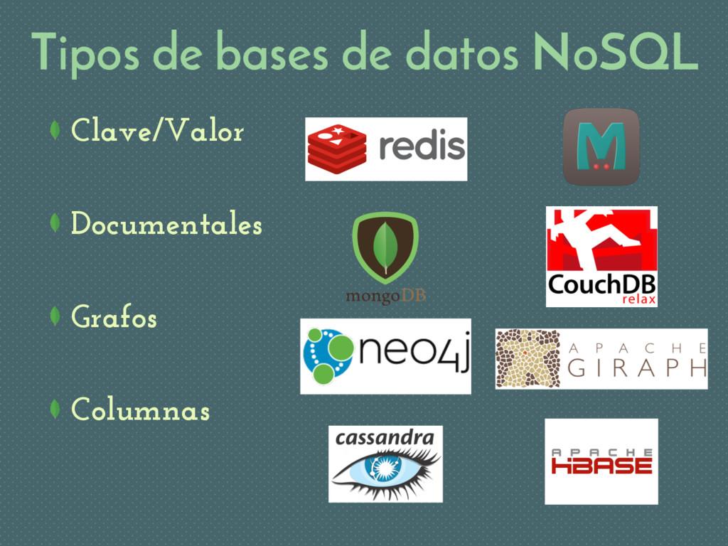 Tipos de bases de datos NoSQL Clave/Valor Docum...