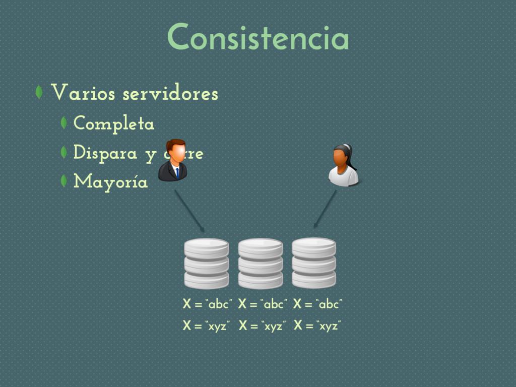Consistencia Varios servidores Completa Dispara...