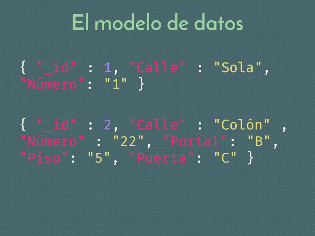 """El modelo de datos { """"_id"""" : 1, """"Calle"""" : """"Sola..."""