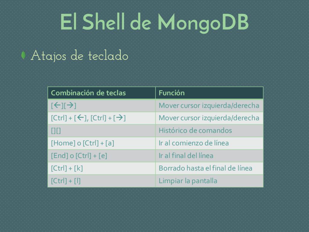 El Shell de MongoDB Atajos de teclado Combinaci...
