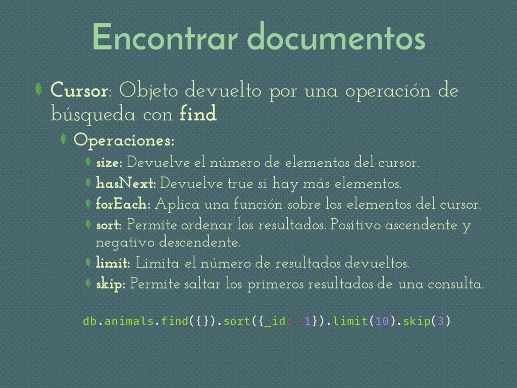 Encontrar documentos Cursor: Objeto devuelto po...