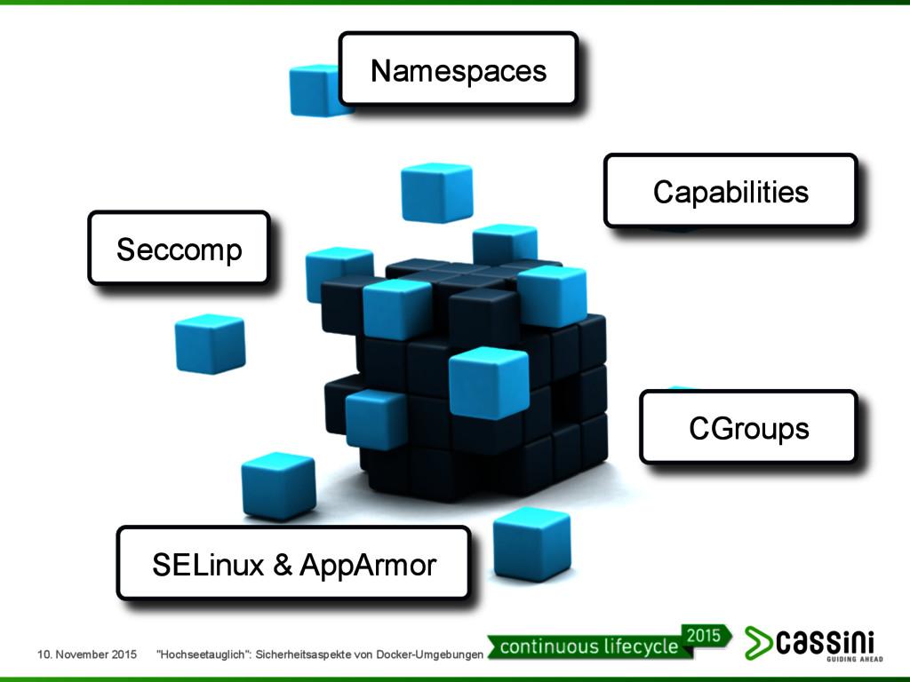 Namespaces Capabilities CGroups SELinux & AppAr...