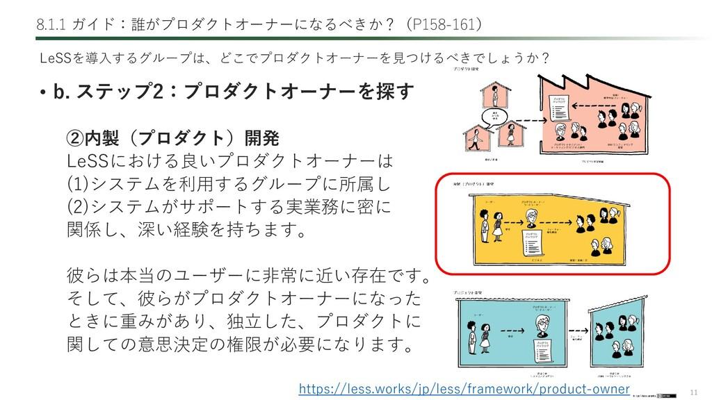 11 8.1.1 ガイド:誰がプロダクトオーナーになるべきか?(P158-161) • b. ...