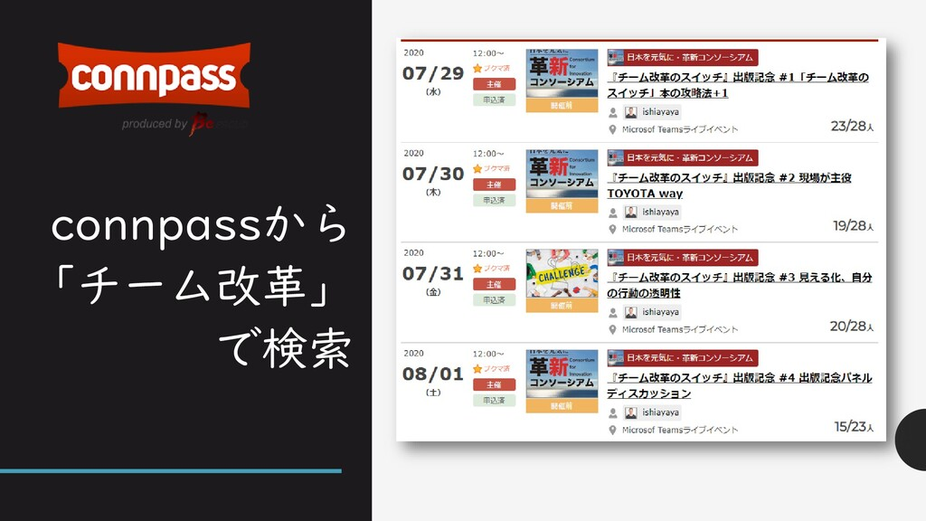 connpassから 「チーム改革」 で検索