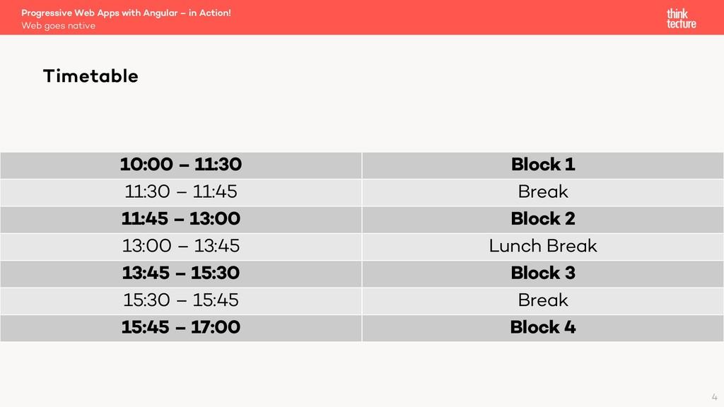 10:00 – 11:30 Block 1 11:30 – 11:45 Break 11:45...
