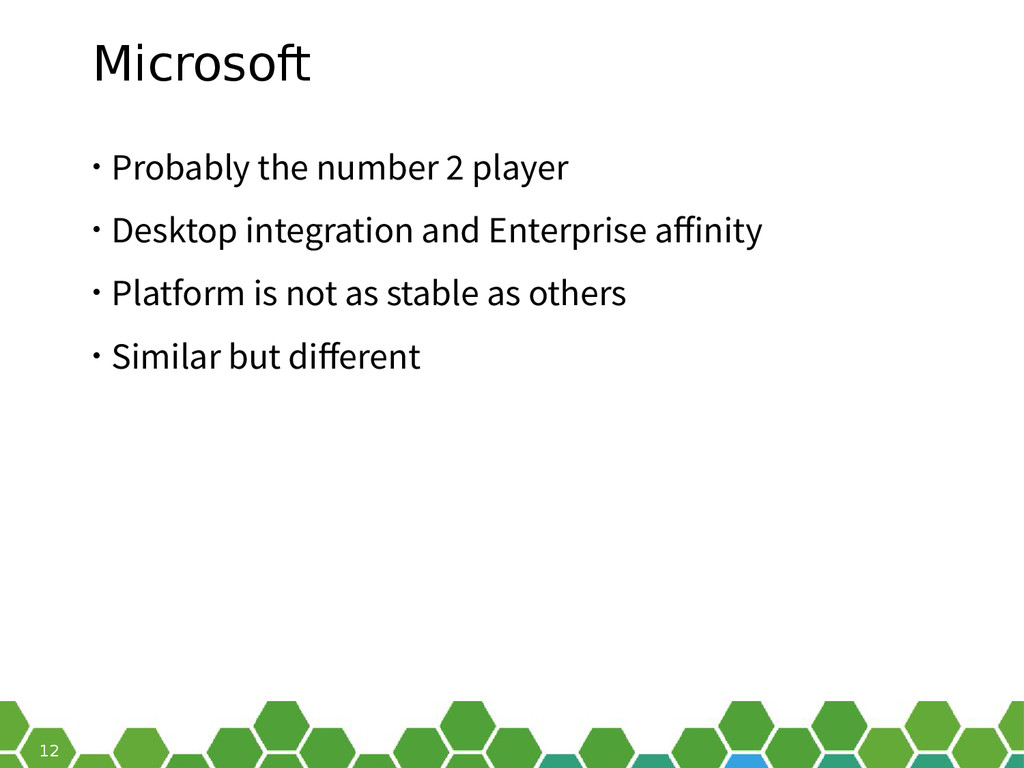 12 Microsoft • Probably the number 2 player • D...