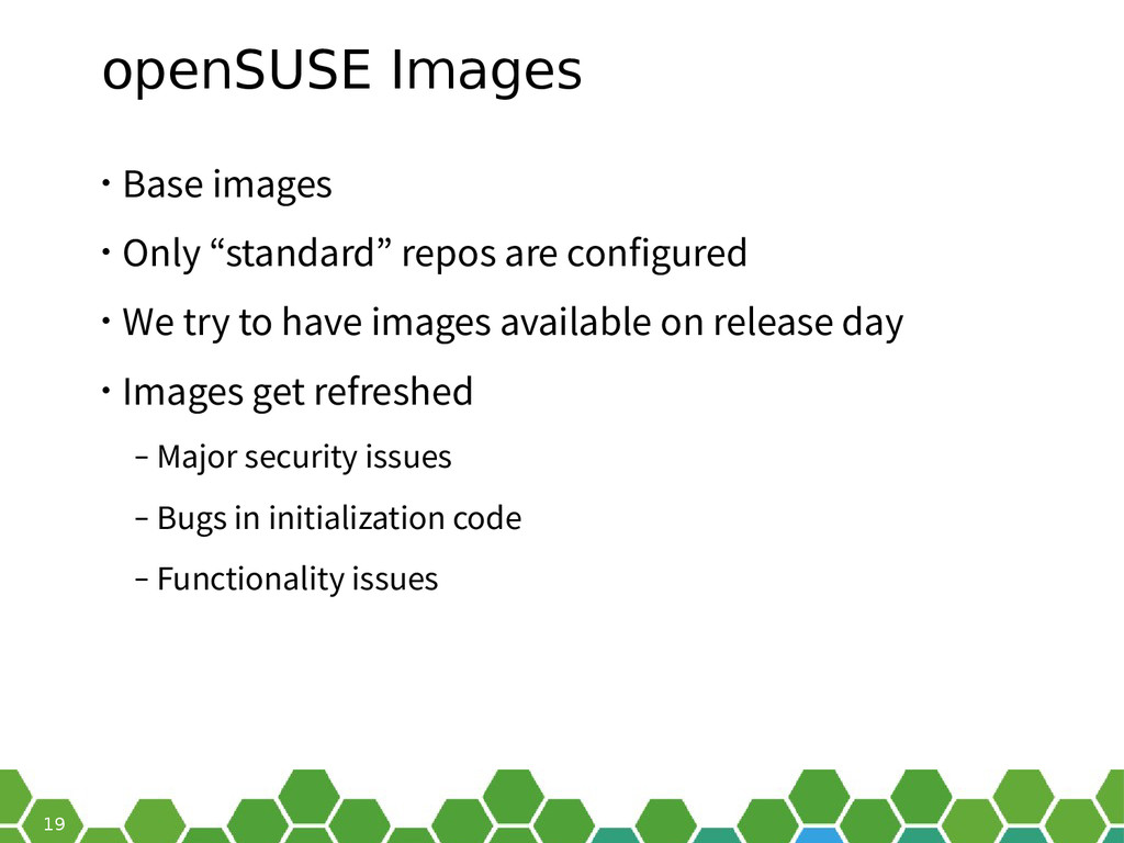"""19 openSUSE Images • Base images • Only """"standa..."""