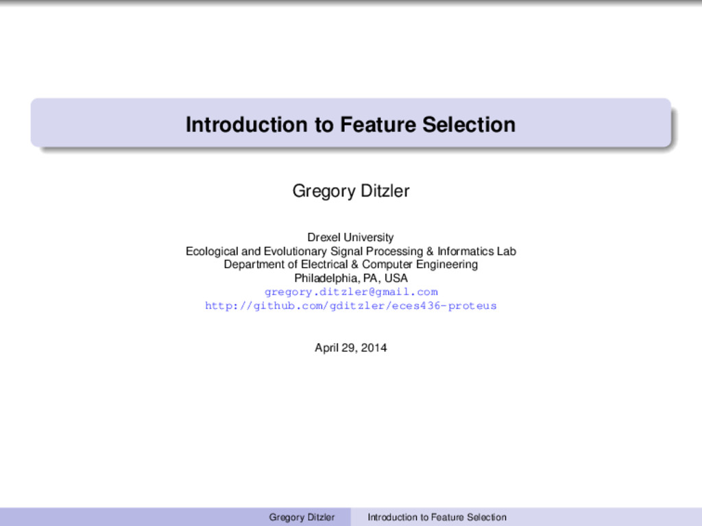 Introduction to Feature Selection Gregory Ditzl...