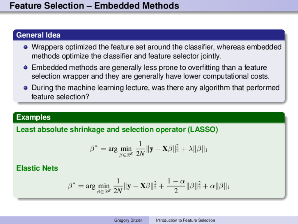 Feature Selection – Embedded Methods General Id...