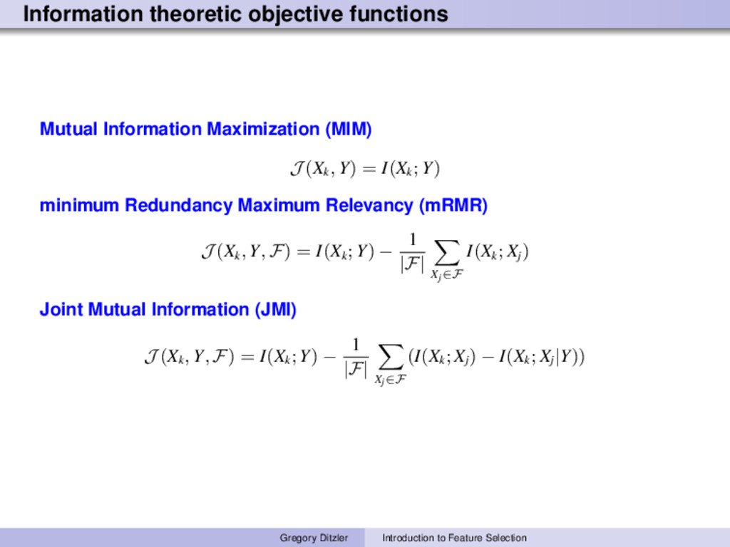 Information theoretic objective functions Mutua...