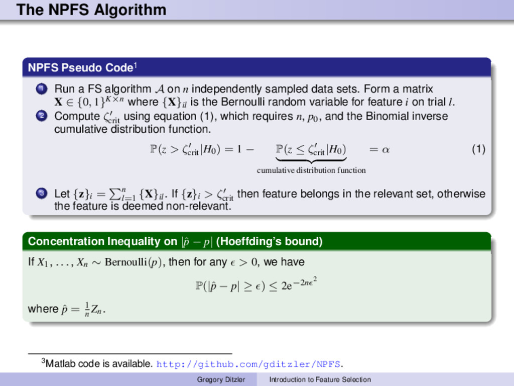 The NPFS Algorithm NPFS Pseudo Code1 1 Run a FS...