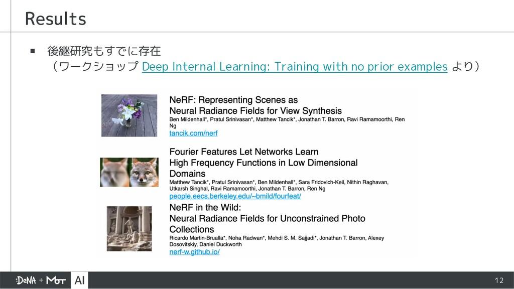 ▪ 後継研究もすでに存在 (ワークショップ Deep Internal Learning: T...