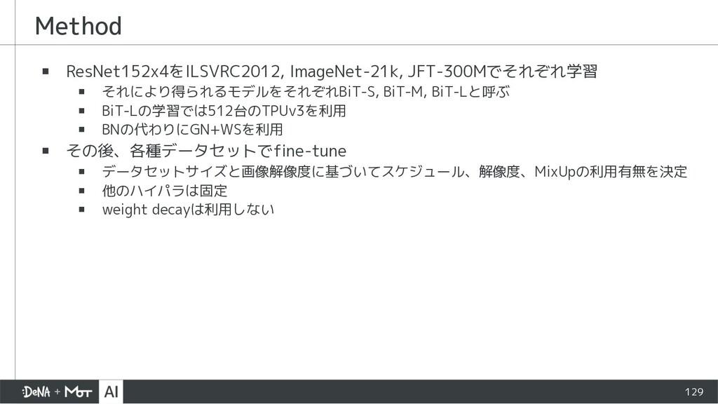 Method ▪ ResNet152x4をILSVRC2012, ImageNet-21k, ...