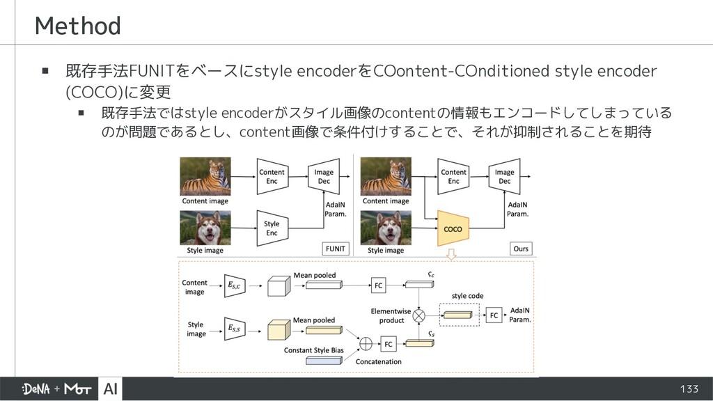 Method ▪ 既存手法FUNITをベースにstyle encoderをCOontent-C...