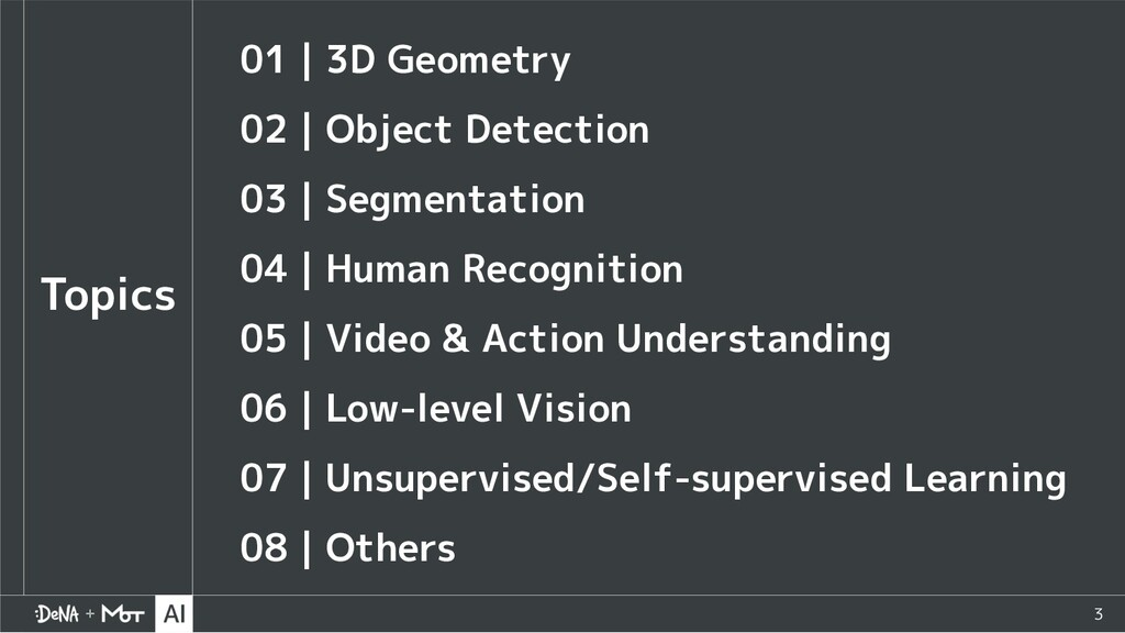 3 Topics 01|3D Geometry 02|Object Detection 03|...
