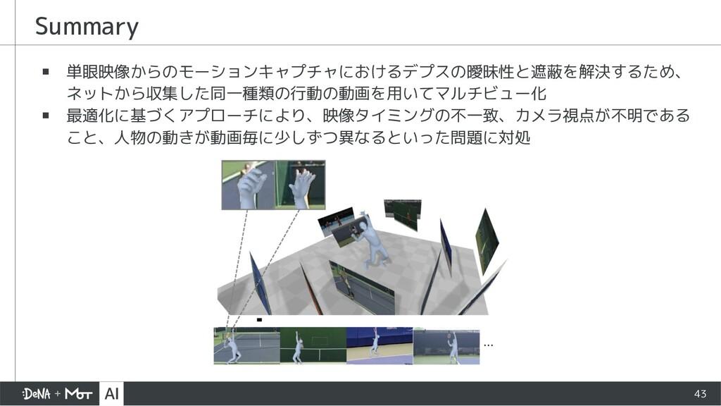 Summary ▪ 単眼映像からのモーションキャプチャにおけるデプスの曖昧性と遮蔽を解決するた...