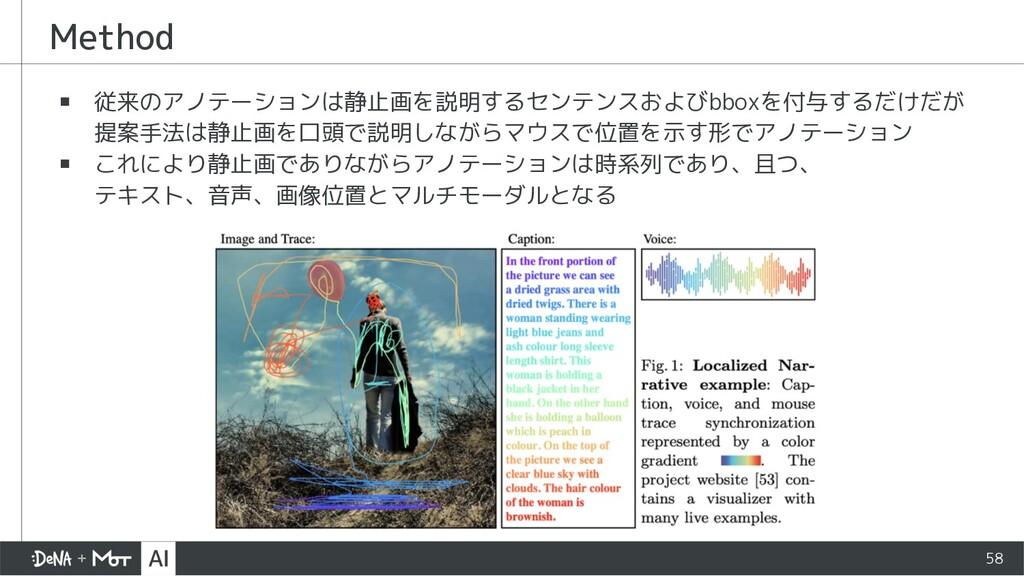 ▪ 従来のアノテーションは静止画を説明するセンテンスおよびbboxを付与するだけだが 提案手法...