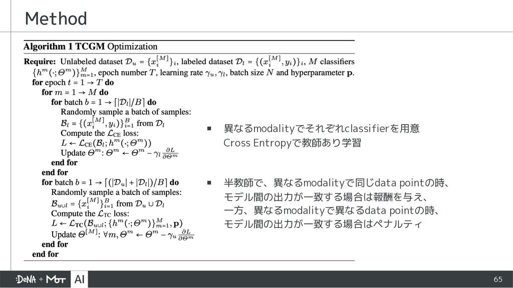Method 65 ▪ 異なるmodalityでそれぞれclassifierを用意 Cross...