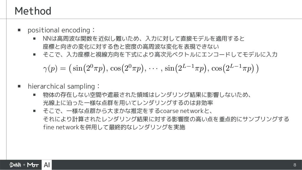 Method ▪ positional encoding: ▪ NNは高周波な関数を近似し難い...