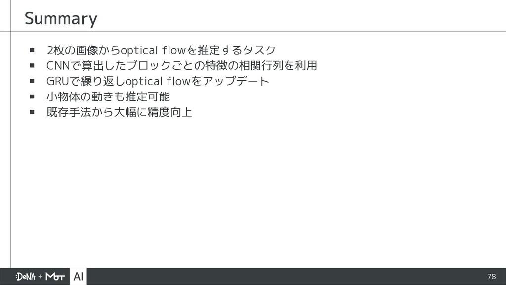 Summary ▪ 2枚の画像からoptical flowを推定するタスク ▪ CNNで算出し...