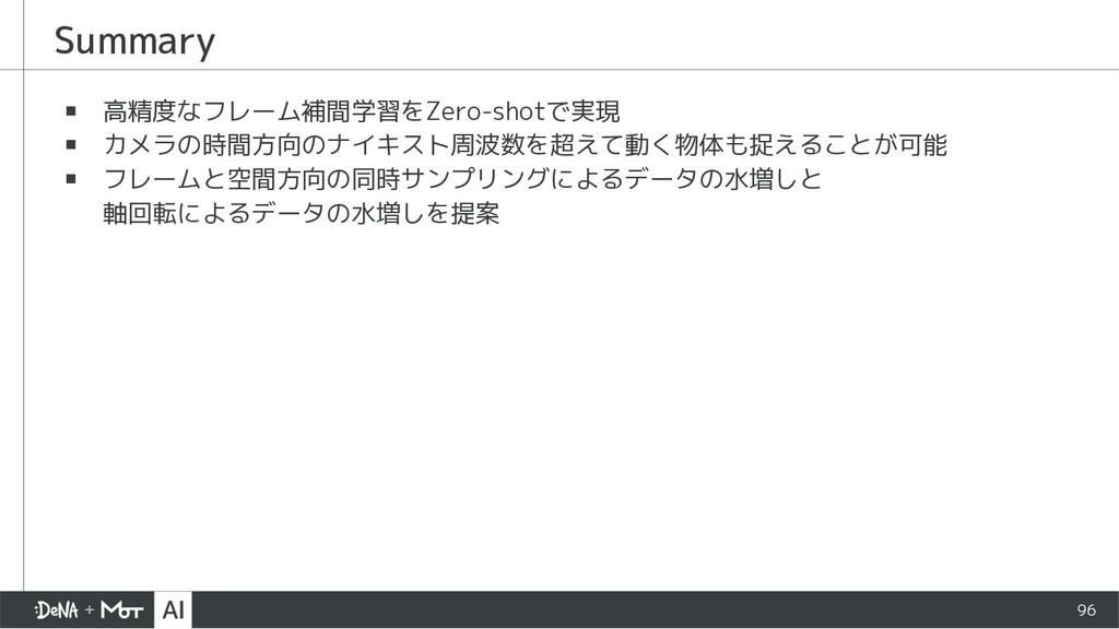 Summary ▪ 高精度なフレーム補間学習をZero-shotで実現 ▪ カメラの時間方向の...