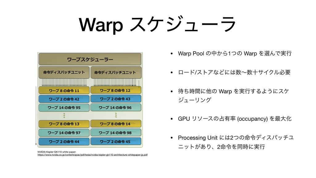 Warp εέδϡʔϥ • Warp Pool ͷத͔Β1ͭͷ Warp ΛબΜͰ࣮ߦ  • ...