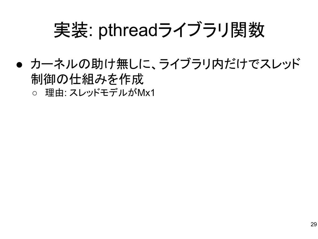 実装: pthreadライブラリ関数 ● カーネルの助け無しに、ライブラリ内だけでスレッド 制...