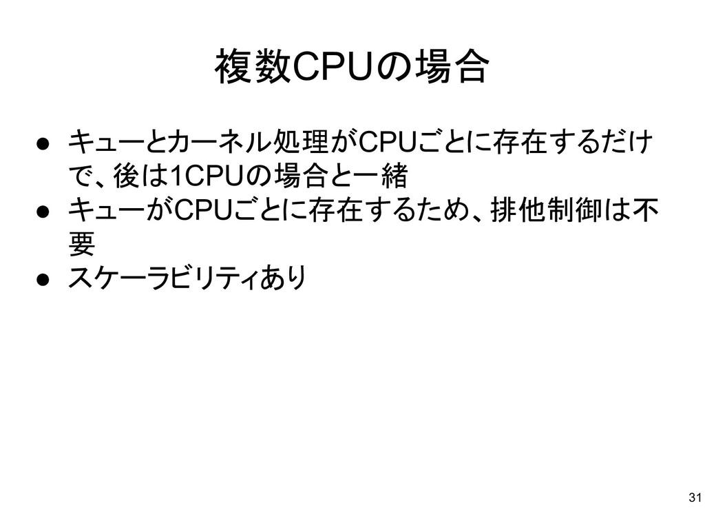 複数CPUの場合 ● キューとカーネル処理がCPUごとに存在するだけ で、後は1CPUの場合と...
