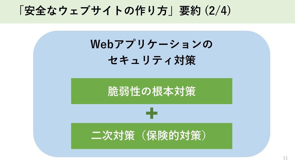 「安全なウェブサイトの作り⽅」要約 (2/4) 11 Webアプリケーションの セキュリティ対...