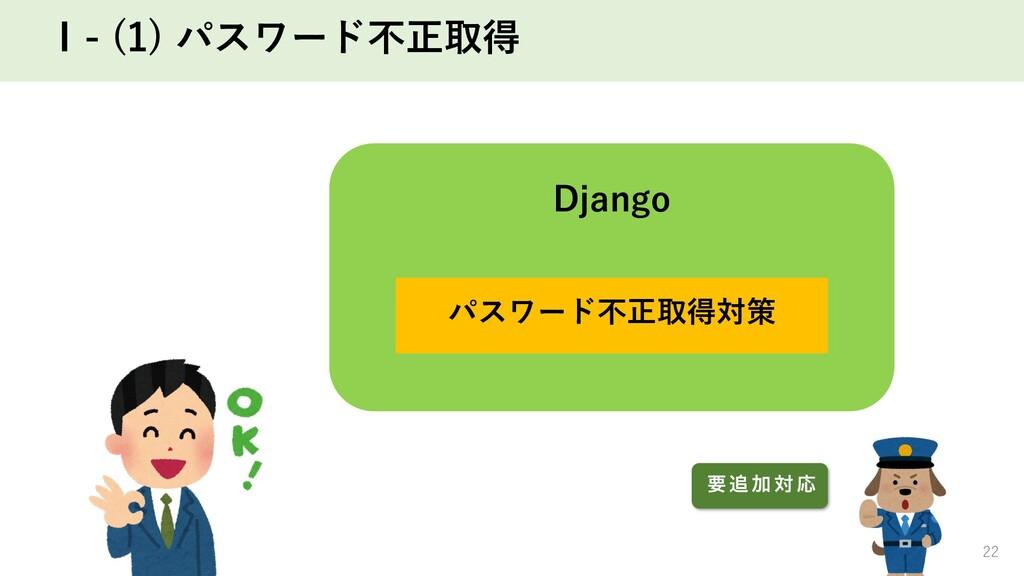 Ⅰ- (1) パスワード不正取得 22 Django パスワード不正取得対策 ཁ  Ճ ର Ԡ