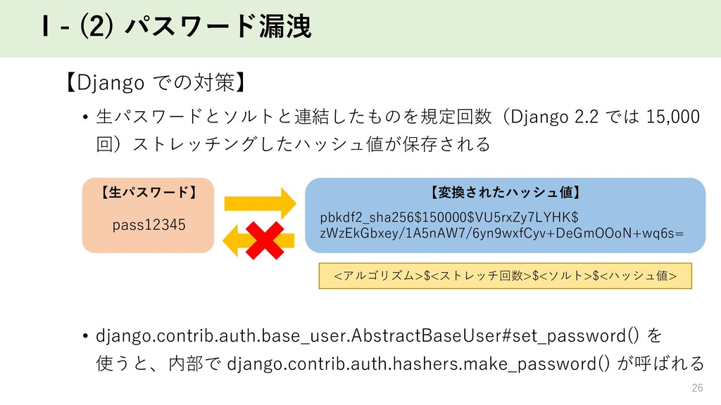 Ⅰ- (2) パスワード漏洩 【Django での対策】 • ⽣パスワードとソルトと連結したも...