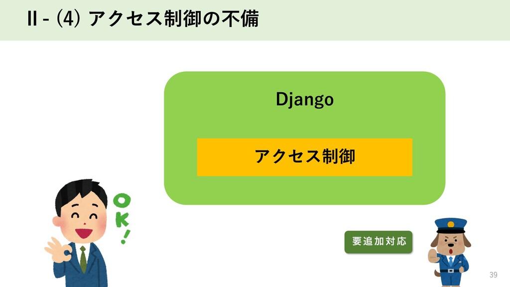 Ⅱ- (4) アクセス制御の不備 39 Django アクセス制御 ཁ  Ճ ର Ԡ
