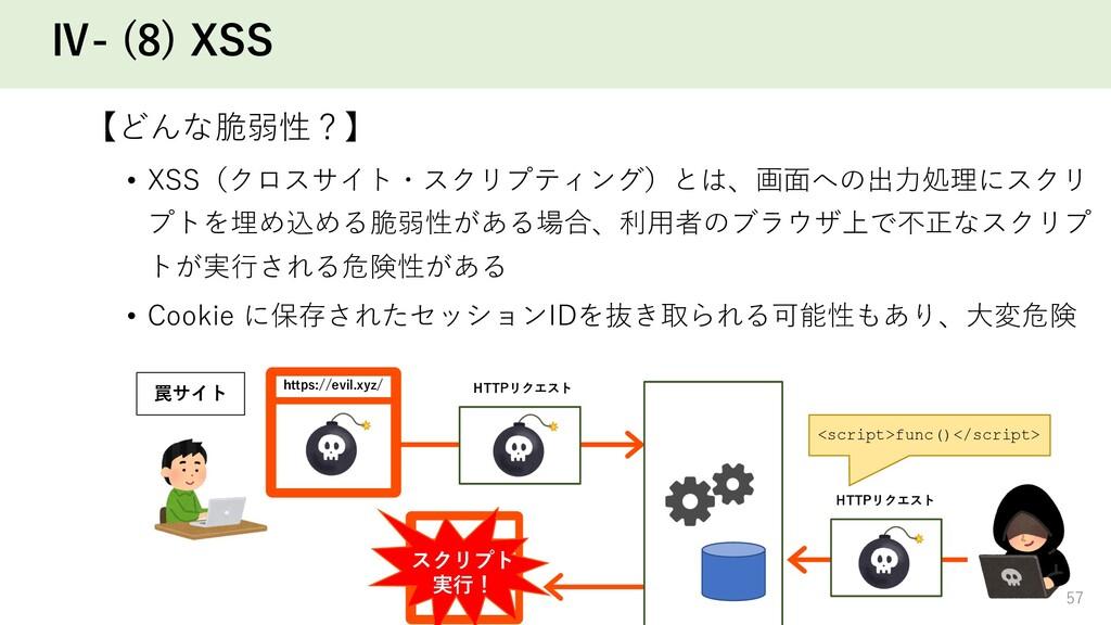 Ⅳ- (8) XSS 【どんな脆弱性?】 • XSS(クロスサイト・スクリプティング)とは、画...