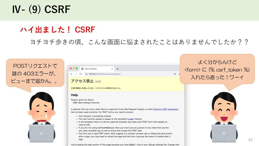 63 Ⅳ- (9) CSRF ハイ出ました! CSRF ヨチヨチ歩きの頃、こんな画⾯に悩まされ...