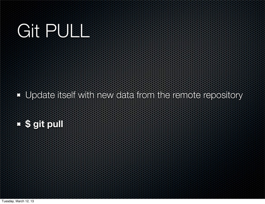 Git PULL Update itself with new data from the r...