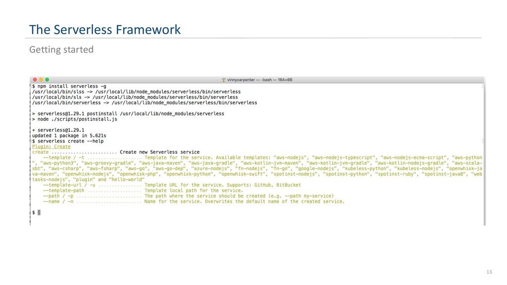 The Serverless Framework 13 Getting started