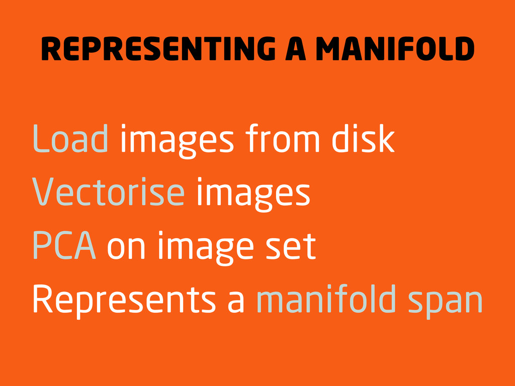 REPRESENTING A MANIFOLD Load images from disk V...