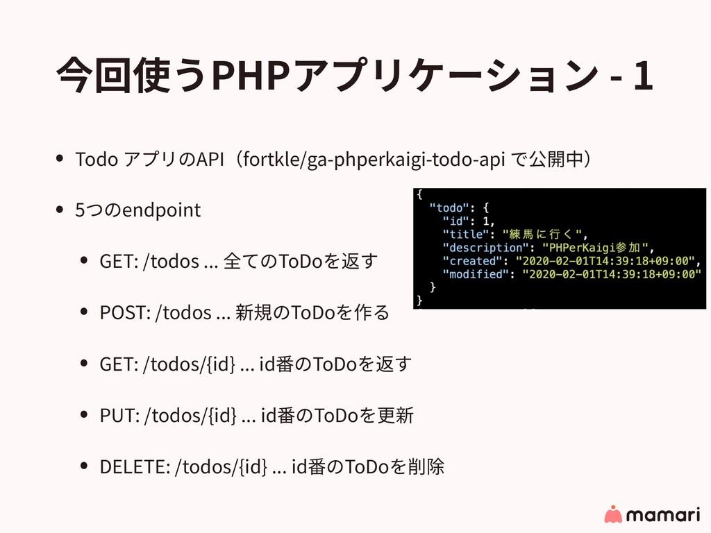今回使うPHPアプリケーション - 1 • Todo アプリのAPI(fortkle/ga-p...