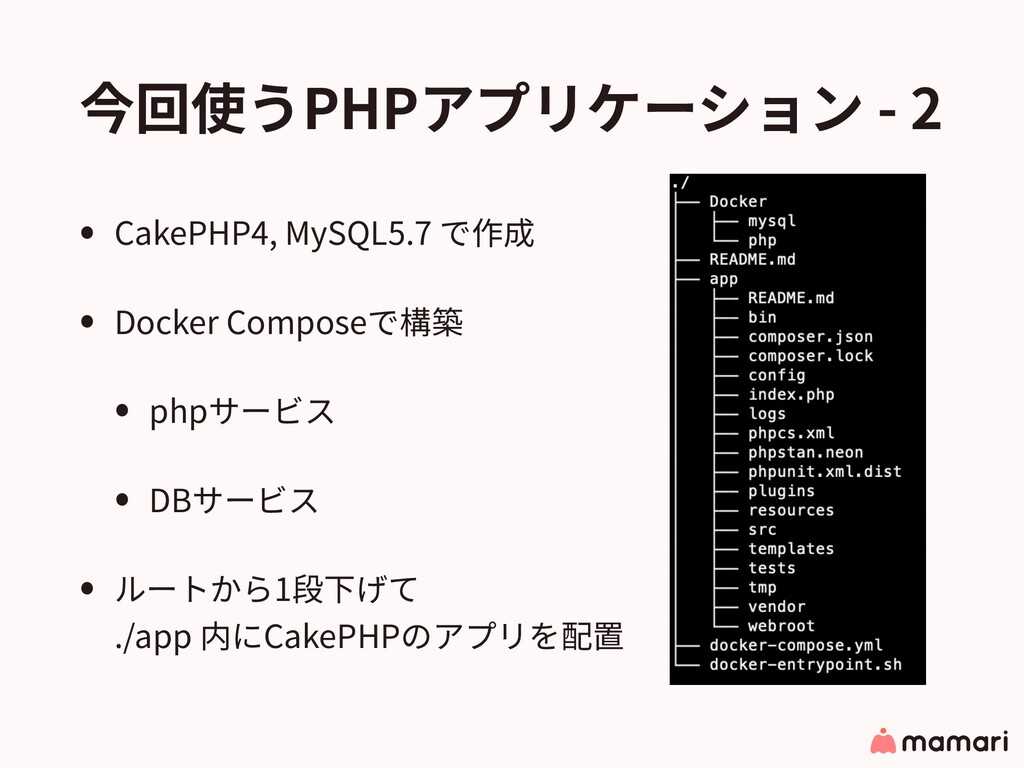 今回使うPHPアプリケーション - 2 • CakePHP4, MySQL5.7 で作成 • ...