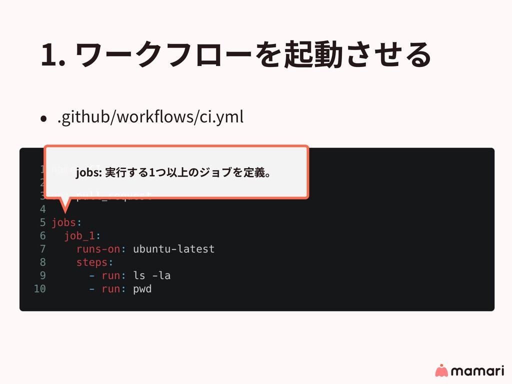 1. ワークフローを起動させる • .github/workflows/ci.yml jobs:...