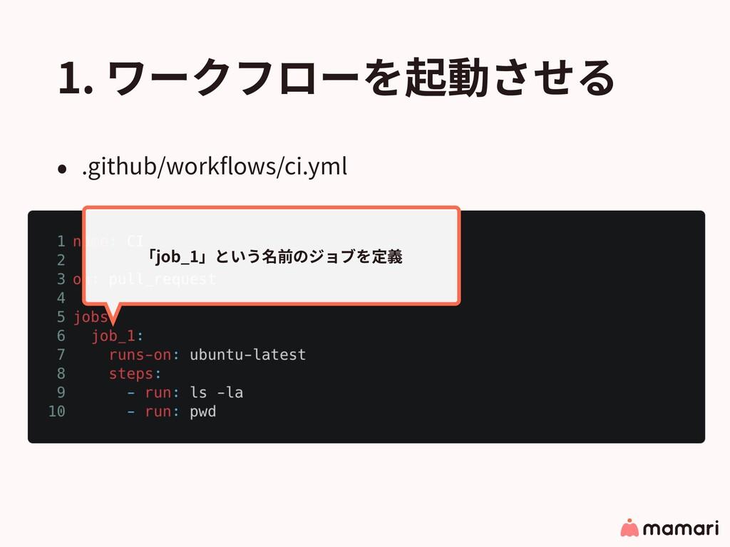 1. ワークフローを起動させる • .github/workflows/ci.yml 「job_...
