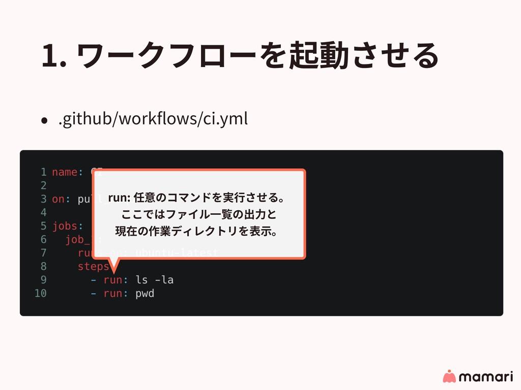 1. ワークフローを起動させる • .github/workflows/ci.yml run: ...