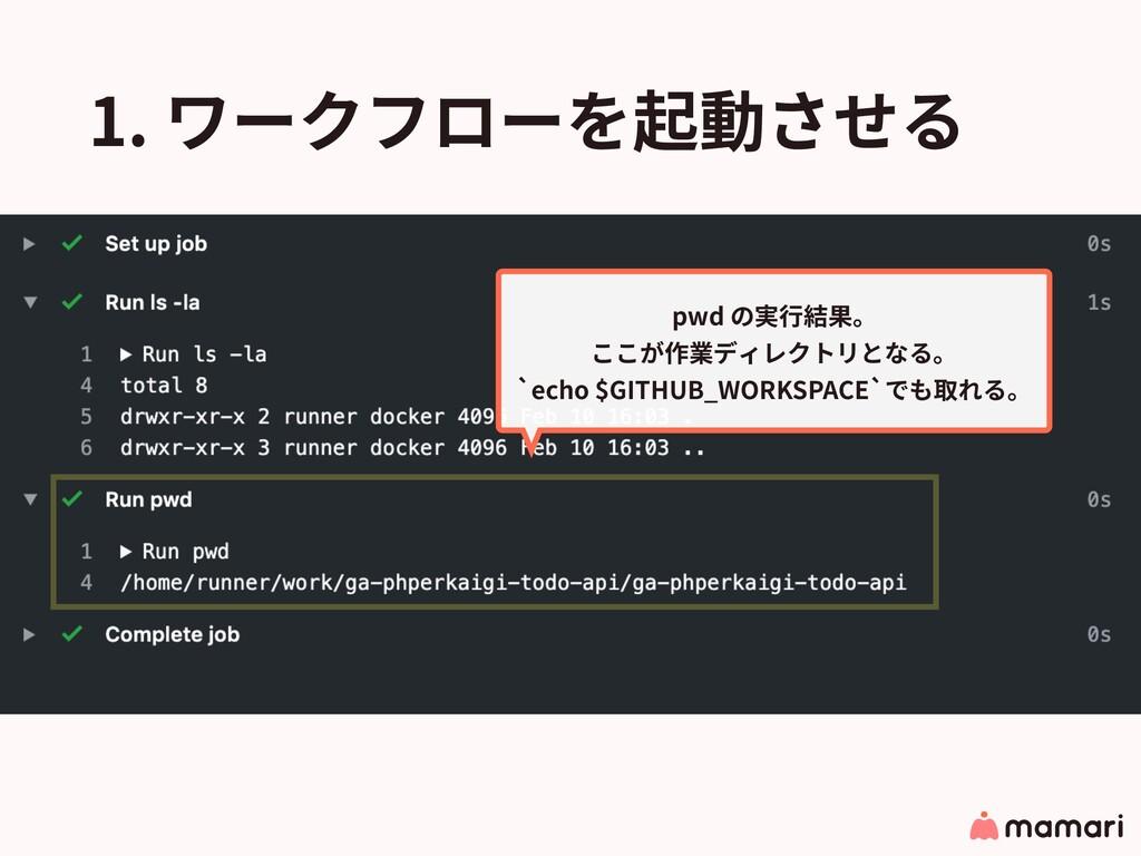 1. ワークフローを起動させる pwd の実⾏結果。 ここが作業ディレクトリとなる。 `ec...