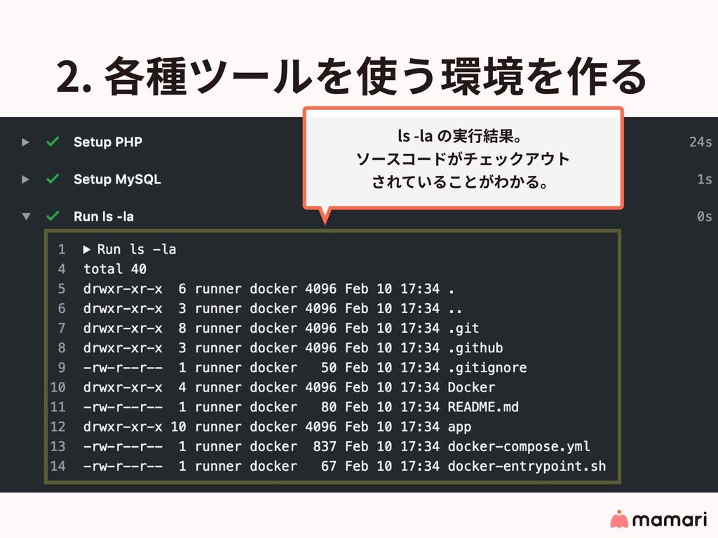 2. 各種ツールを使う環境を作る ls -la の実⾏結果。 ソースコードがチェックアウト さ...